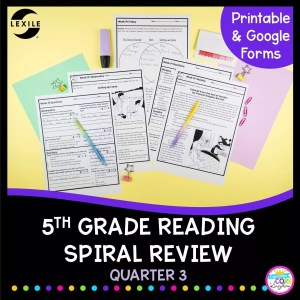 Cover for 5th grade reading spiral review for 3rd quarter of the year showing worksheets with stories and questions