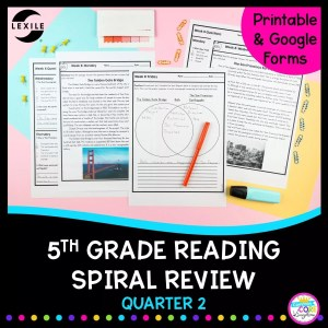 Cover for 5th grade reading spiral review for second quarter showing reading comprehension worksheets and stories with a pink background and text