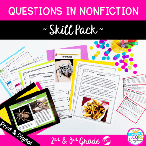 Questions in Nonfiction skill pack cover showing printable and digital reading comprehension worksheets and task cards