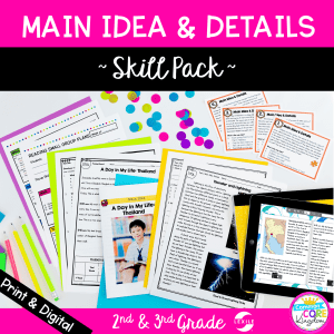 main idea and details skill pack cover showing digital and printable reading comprehension resources for 2nd and 3rd grade
