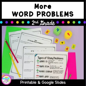 Cover for 2nd grade word problem resource showing story problem worksheets with pencils and text