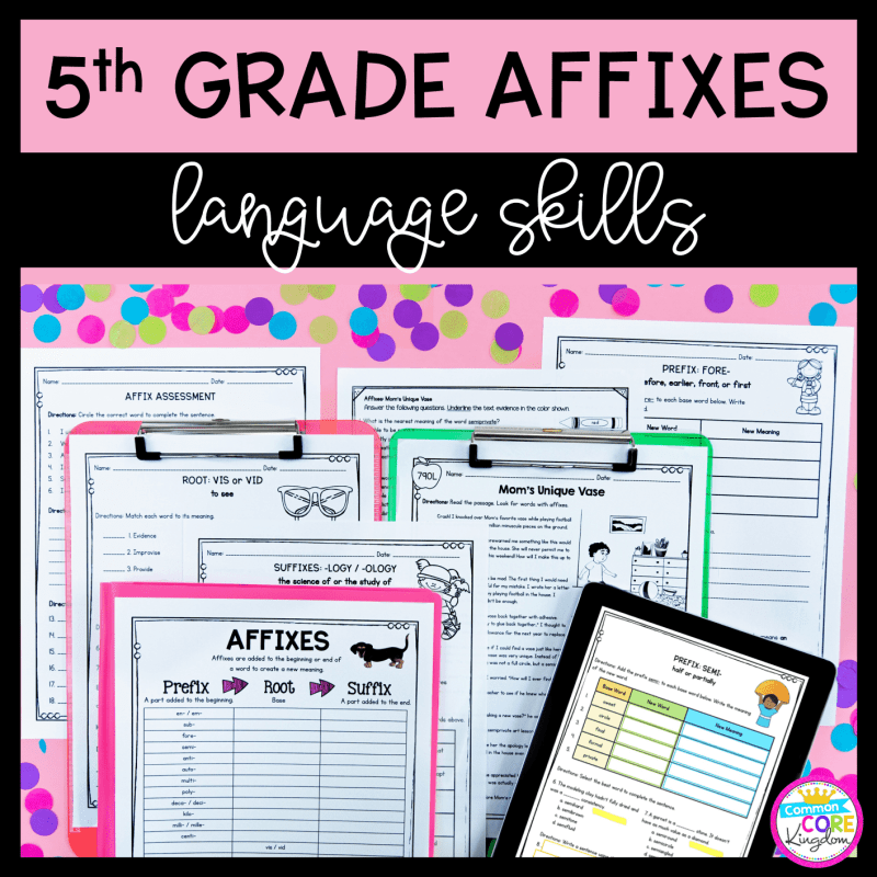 5th Grade Affix Unit and Task Card cover showing printable and digital worksheets