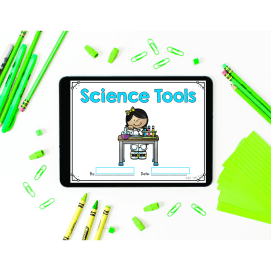 Cover of 1st and 2nd grade Science Tools mini book for distance learning.