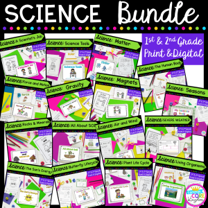 science bundle cover showing a variety of first and second grade resources