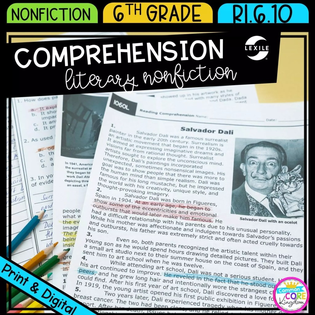 Comprehension of Literary Nonfiction for 6th grade cover showing printable and digital worksheets