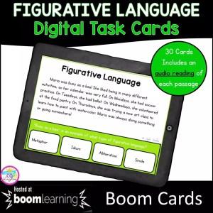 Figurative Language Digital Task Cards cover for 3rd grade showing a digital worksheet
