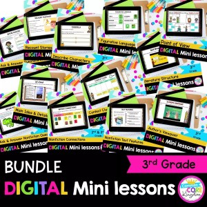 3rd Grade Digital Mini lessons bundle cover showing digital worksheets