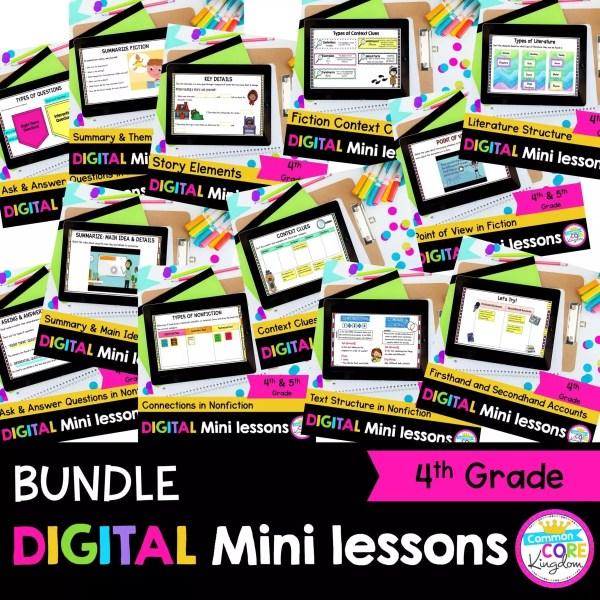 4th Grade Digital Mini lessons bundle cover showing digital worksheets