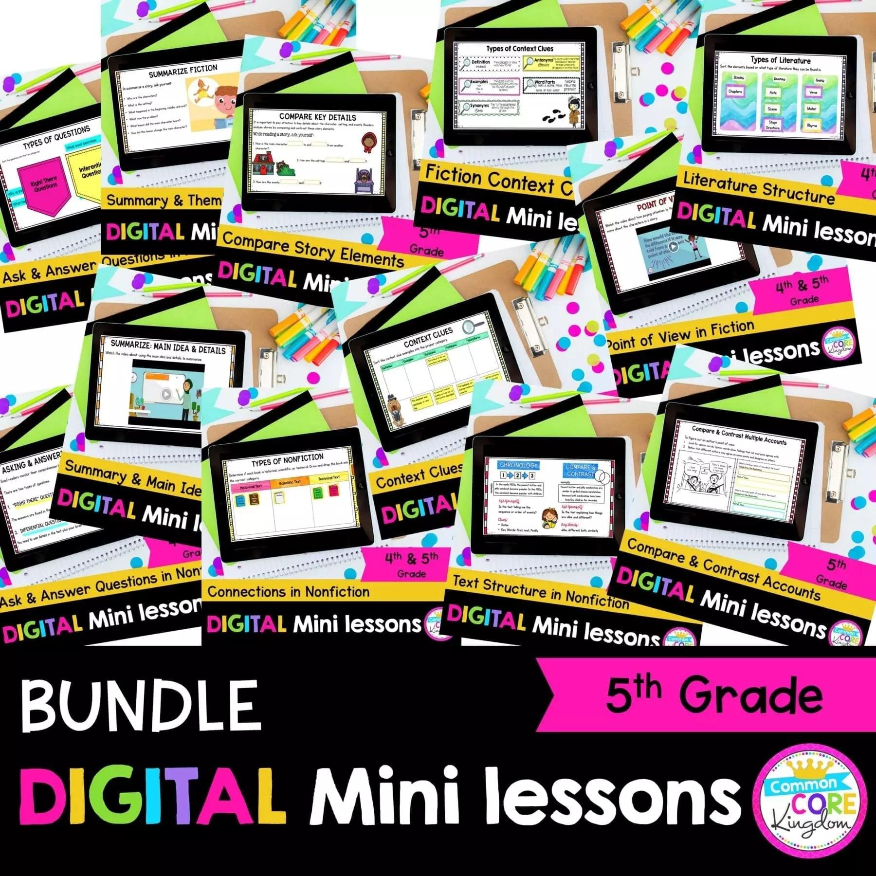 5th Grade Reading Mini Lessons Bundle For Slides