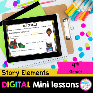 Story Elements digital mini lesson for 4th grade cover showing google slides resource on tablet with colored background