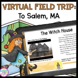 Virtual Field Trip to Salem Witch Trials cover showing digital google slides resource on a tablet