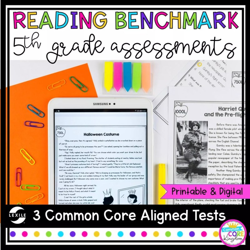 5th Grade Reading Benchmark and Assessments cover showing printable and digital worksheets
