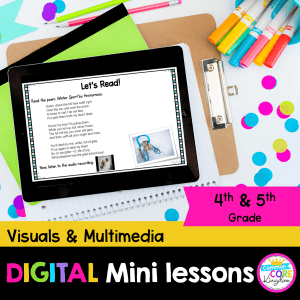 RL.4.7/5.7 Visuals and Multimedia digital mini lesson cover showing use of digital resource in Google Slides on Ipad