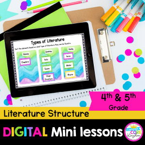 Digital Mini-Lessons for literature text structure cover showing google slides lessons on ipad