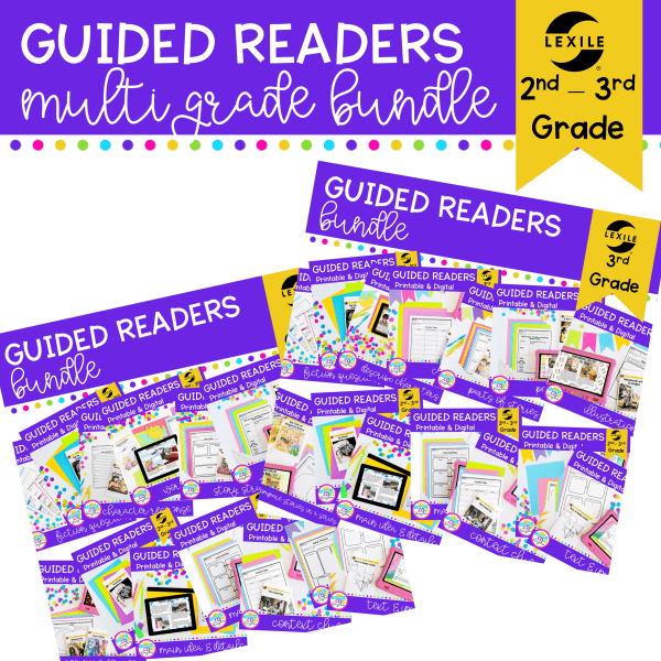 2nd & 3rd grade multi grade guided reading bundle cover showing digital and printable reading comprehension resources