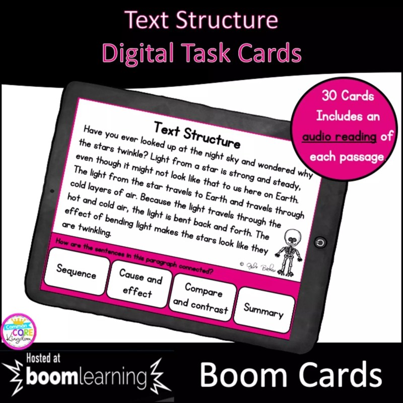 Nonfiction Text Structure Digital Task Cards for 3rd Grade showing a digital slide