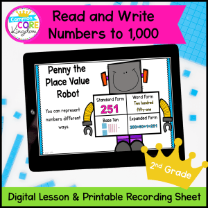 Digital math reading and writing numbers to 1,000 mini lessons on google slides