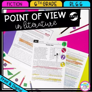 Point of View cover for 6th grade literature showing 3 passage pages with highlighted textual evidence