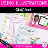 Skill Pack on Using Illustrations including lesson plans, mini-lessons, guided reading packet, core comprehension, task cards & boom cards.