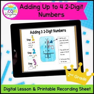 Adding Multiple 2-Digit Numbers Digital Lesson for 2nd Grade