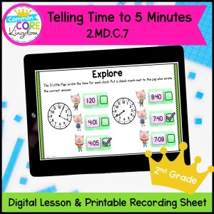 Telling Time to 5 minutes mini lesson in google slides and printable format