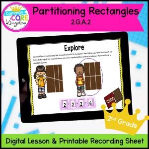 Partitioning Rectangles 2nd Grade Math Digital Lesson in Google Slides Format