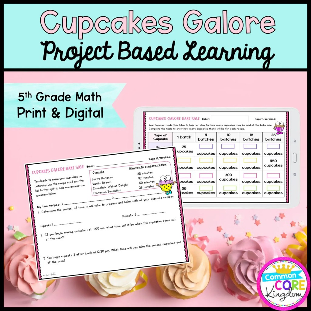 5th Grade Cupcakes Galore Project Based Learning for 5th Grade in Printable & Digital Format