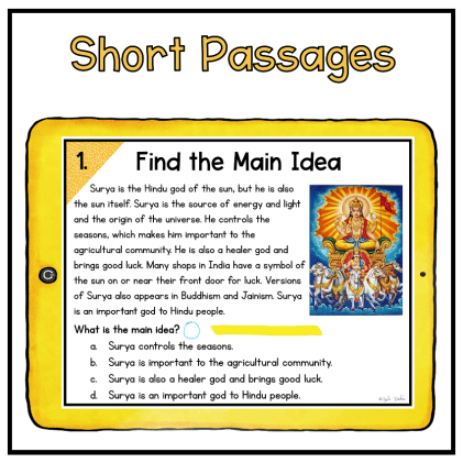 Digital escape room slide showing reading comprehension question focused on Main Idea skills on yellow tablet