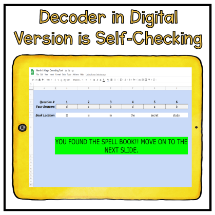 Screen shot of digital escape room reading resource decoding tool on a yellow tablet