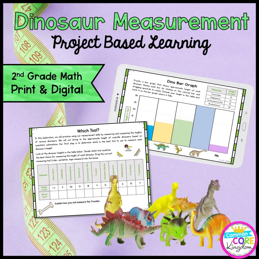 Dino Measurement Project Learning - 2nd - Printable & Google Distance Learning