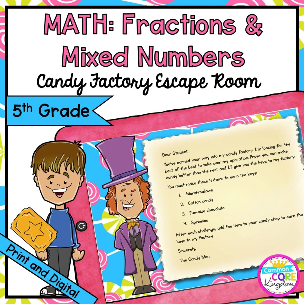 Fractions and Mixed Numbers Escape Room for 5th Grade in Google Slides & Printable Format