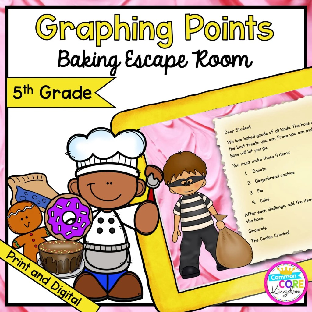 Graphing Points Math Escape Room for 5th Grade in Google Slides & Printable Format