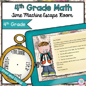 Time Machine Math Time & Measure Escape Room for 4th Grade in Google Slides & Printable Format