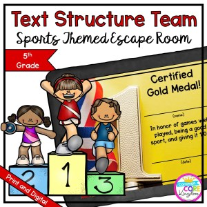 Team Sports Text Structure Escape Room for 5th Grade in Google Slides & Printable Format