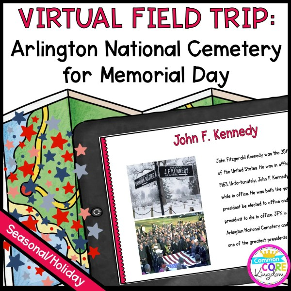 Virtual Field Trip Arlington Cemetery for Memorial Day in Google Slides & Seesaw Format