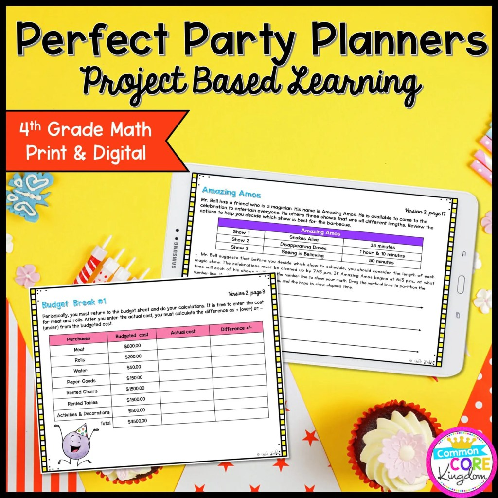 4th Perfect Party Planners Project Based Learning in Printable & Google Slides Format