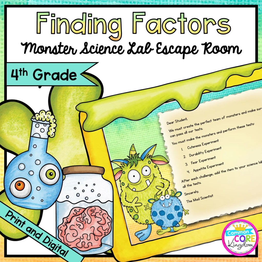 Finding Factors - Monster Science Escape Room for 4th Grade in Digital & Printable Format