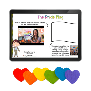 Tablet showing an image of a woman holding an LGBTQ+ inclusive book with text that says The Pride Flag and colorful hearts under it.