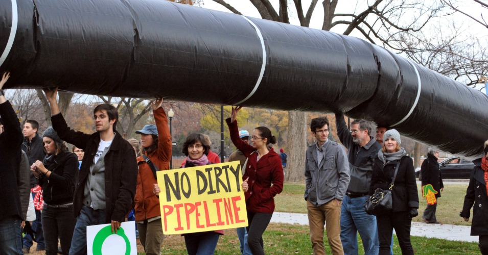"""The senators who voted in favor of the Keystone XL pipeline know they don't have the votes to override President Obama's veto, so ultimately this was a symbolic vote for them—a testament to their loyalty to dirty money over rational public policy,"" said Kyle Ash of Greenpeace. (Photo: Chesapeakeclimate/flickr/cc)"