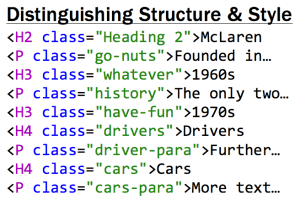Distinguishing structure from style, pseudo-code examples of HTML tags each with it's own class indicating individual styling.