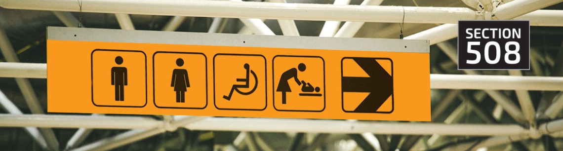 Graphic showing an accessible entrance sign and an icon reading Section 508