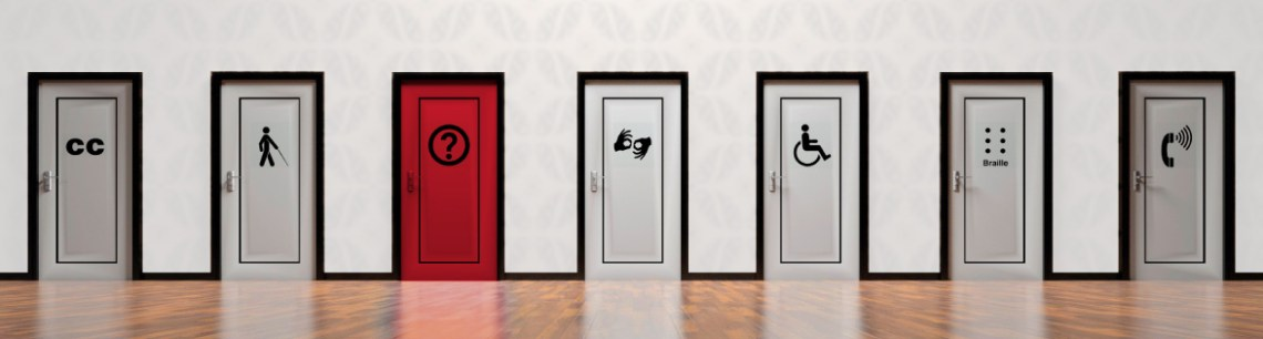Graphic of various doors with various accessibility icons on each.
