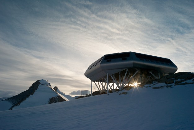 Princess Elisabeth Station against the sunlight. Image: René Robert (International Polar Foundation)