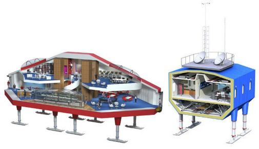 Halley VI Antarctic research station cross-sections. Concept rendering. Image: Hugh Broughton Architects