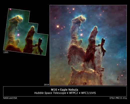 'Before and After'.  NASA's Hubble Space Telescopes Revisits the 'Pillars of Creation'.  Image: NASA.