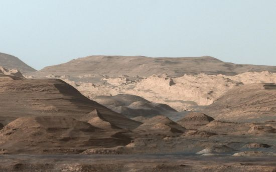 This composite image looking toward the higher regions of Mount Sharp was taken in mid-September, 2015