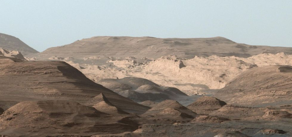 Composite image of the martian landscape looking toward the higher regions of Mount Sharp by NASA's Curiosity rover.