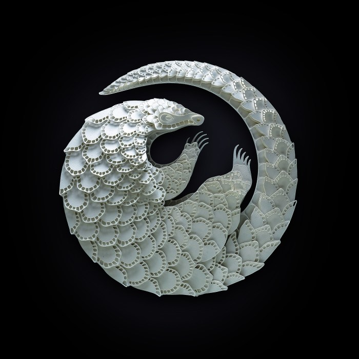 Pangolin paper sculpture by Patrick Cabral