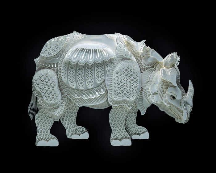 Rhinoceros paper sculpture by Patrick Cabral