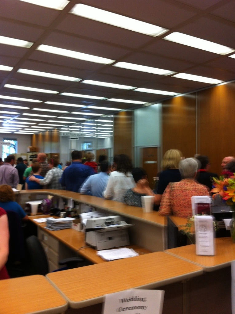 Lines of same-sex couples waiting to get married in Marion County Clerk's office